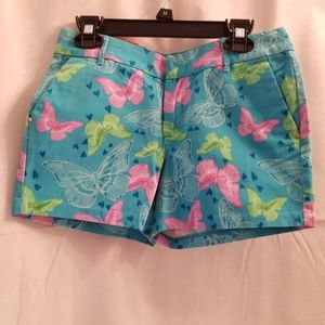 So Blue Shorts with Flowers & Pink Butterflies